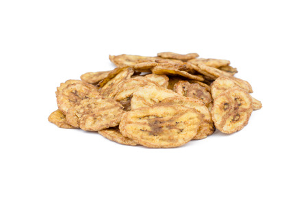 Dried banana slices isolated on white background Standard-Bild