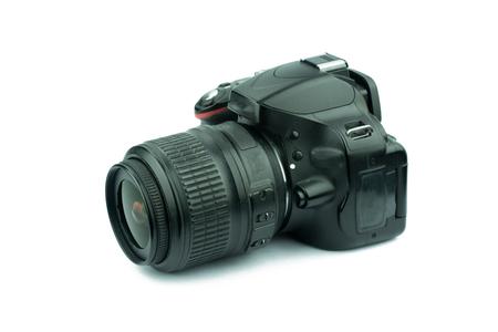 Black digital camera isolated on white background Stock Photo