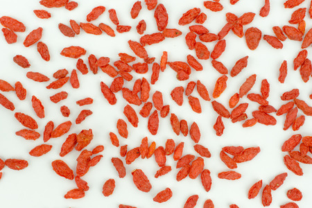 chinese wolfberry: heap of goji berries isolated on white background