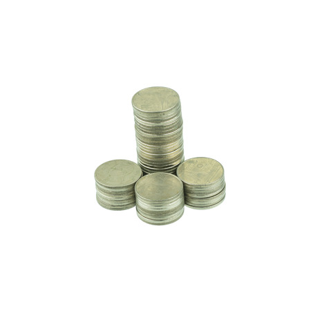 coins stacks isolated on white