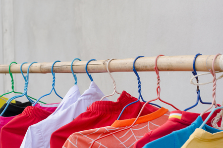 Drying clothes by using bamboo clothesline