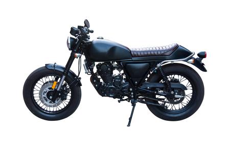 Zwarte klassieke motor geïsoleerd op wit. Met uitknippad. Vintage oude motorfiets. Stockfoto - 85555832