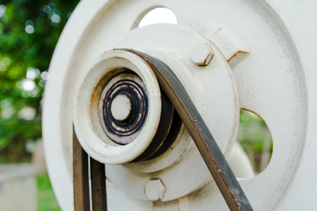 Close up belt and pulley on the motor Stock Photo