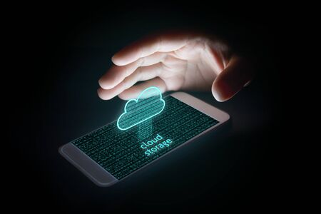cloud storage concept, Woman using smartphone Upload Databases to cloud storage and protection with virsual screen.
