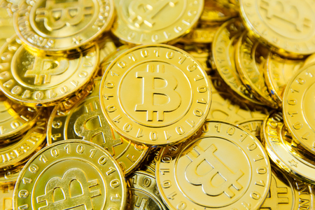 Golden bitcoin coins background, Digital currency, Crypto currency golden coin