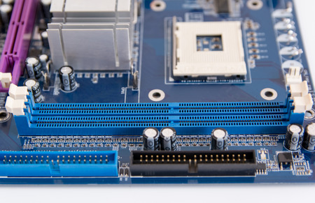 close up of RAM connector slot on PC motherboard Stock Photo