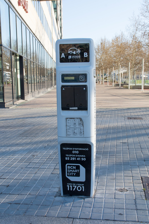 Barcelona, Spain - March 18, 2018: Charge post for electrical cars provided by e-on.