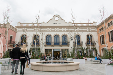 LA ROCA VILLAGE, BARCELONA, SPAIN - MARCH 17, 2018 : Prada store at the outlet shopping mall La Roca