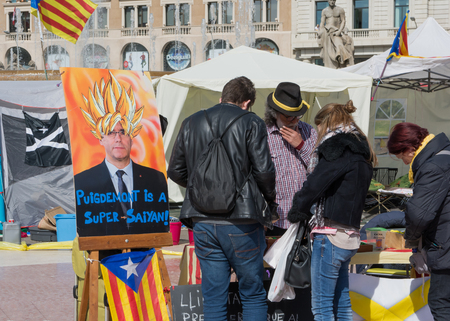 Barcelona, Spain - March 19, 2018: Carles Puigdemont in super saiyan Image At Plaza Catalunya in Barcelona
