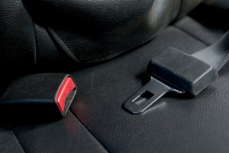 Car seat belt on The passenger seat in car. Safely on car