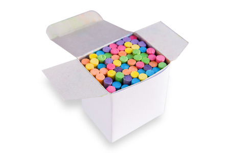 Colorful chalk in a blank cardboard box, Box of chalk for design isolated white background