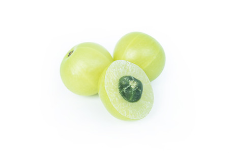Indian gooseberry or Amla (Phyllanthus emblica) isolated on white background with clipping path