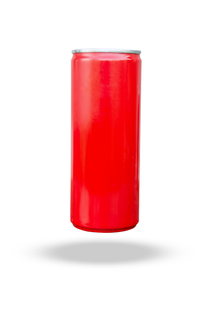 Red slim can isolated on white background with clipping path