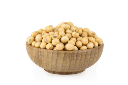 Soy beans in bowl wood isolated on white background 版權商用圖片