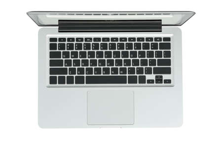 Laptop computer top view isolated on white background with clipping path