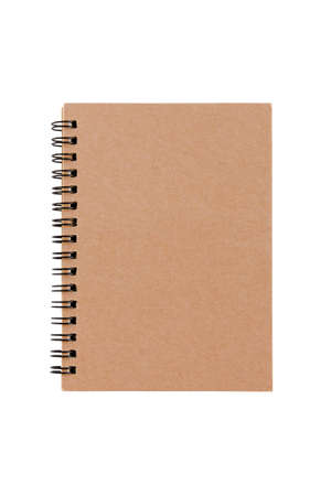 brown notebook isolated on white background with clipping path Stock Photo
