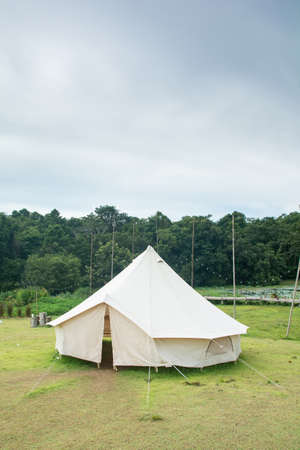 Traditional canvas bell tent in countryside Stok Fotoğraf