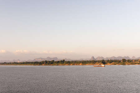 Mekong river and bluesky. Nakhon phanom, thailand