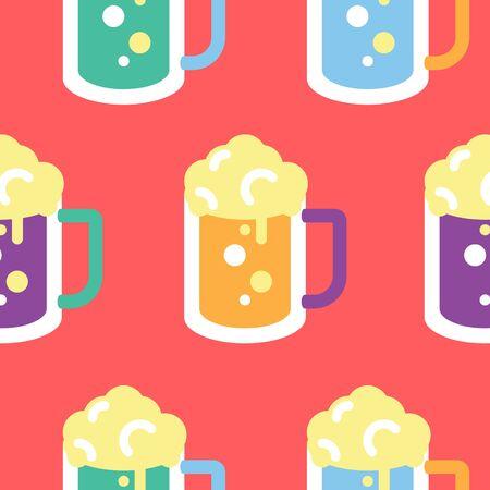 glass pattern: Seamless Beer Glass Pattern Illustration