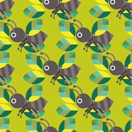 leaf insect: Seamless Ant with Leaf Pattern, Insect Vector Illustration