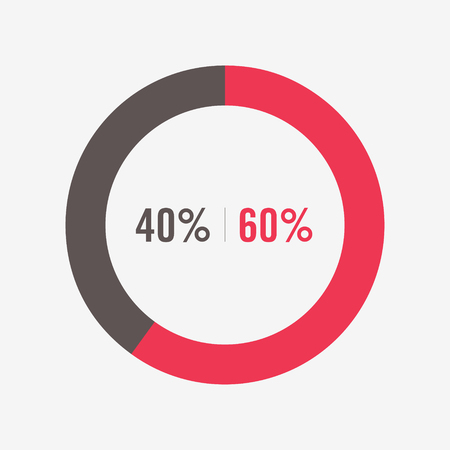 40: icon pie black and red chart 40, 60 percent Illustration