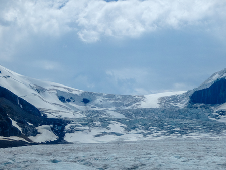 a glacier tongue at the top of the mountain in canada Stock Photo