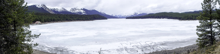 panorama picture from snowy mountains in canada