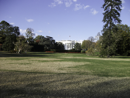 the white house with the park in front Stok Fotoğraf