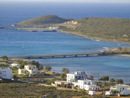 a bridge between two islands in greece