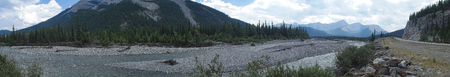 panorama picture from the rocky mountains in spring time