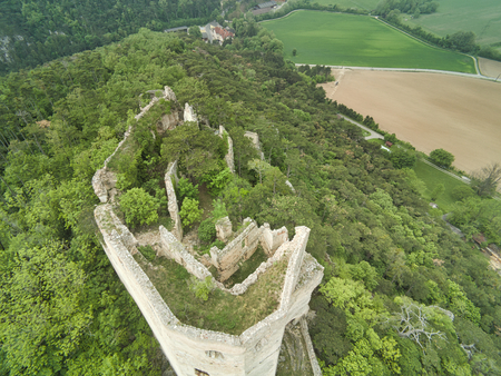 high angle view to a castle ruin in the wood