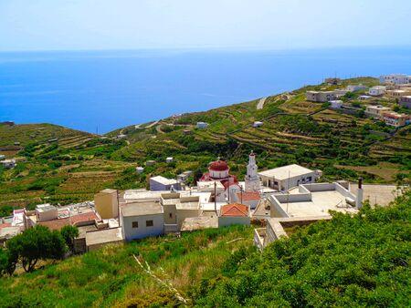 view to a small village in greece in the bay with the sea Archivio Fotografico