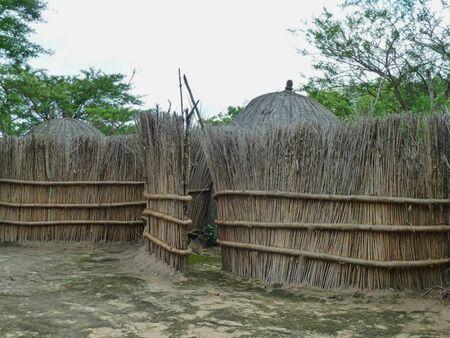 small huts made of hay