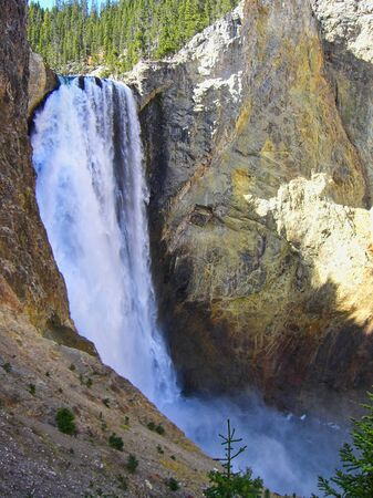 a waterfall in the yellowstone park 스톡 콘텐츠