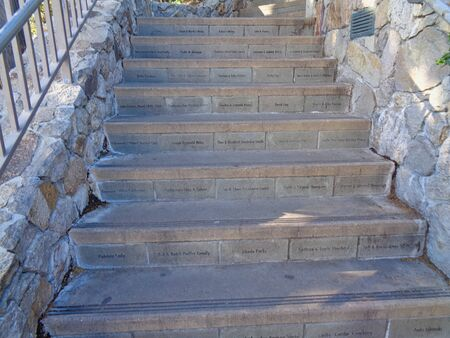 a stairway  with names on it