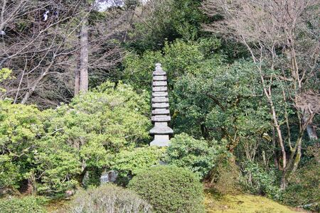 an old stone fountain in a park in tokyo