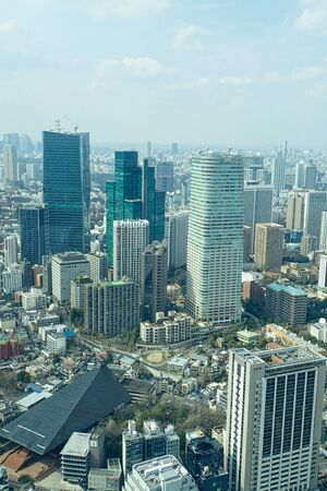 view to to tokyo city from the skyscraper down