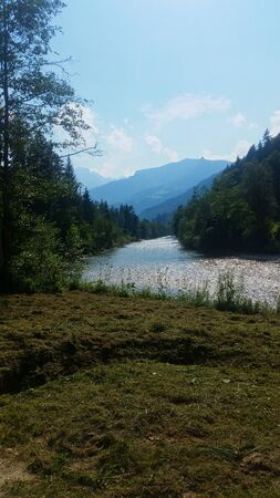 a river in the austrian alps in the summer Stok Fotoğraf