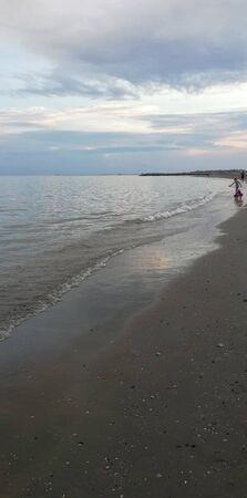 an empty beach at summer