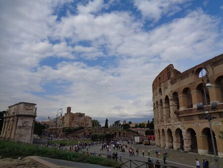 the colloseum in rome at summertime