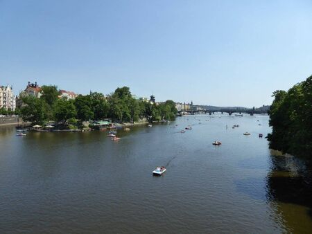 the moldau in prague with ships on it