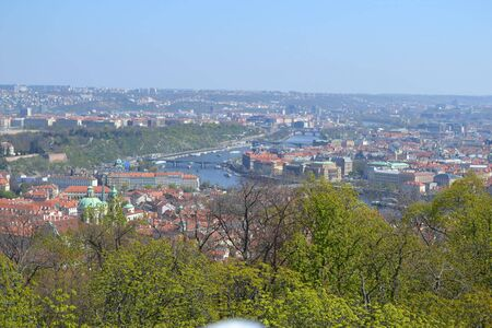 view to prague with the river in the middle