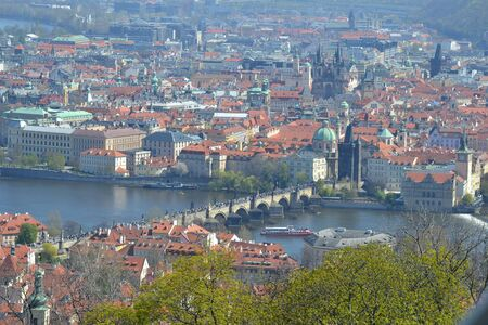 view to prague with the river in the middle 스톡 콘텐츠