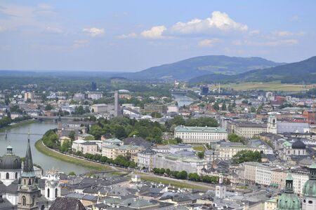 view above salzburg from a breaking place at summer