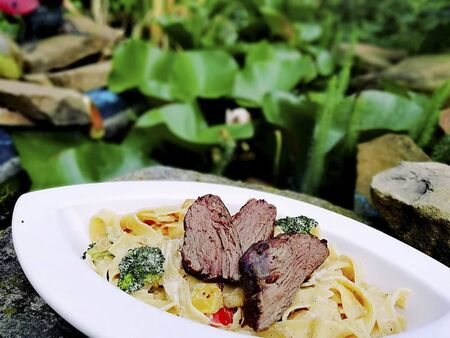 a meat with noodles for lunch in a restaurant Reklamní fotografie