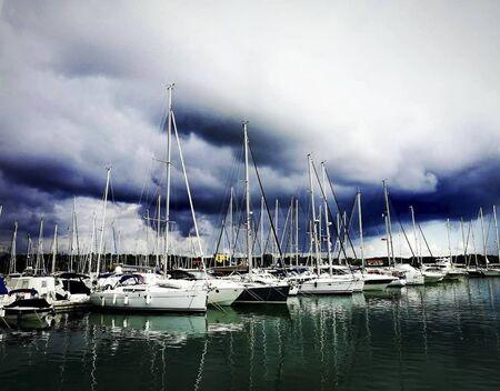 a pier with ships after the rain Reklamní fotografie
