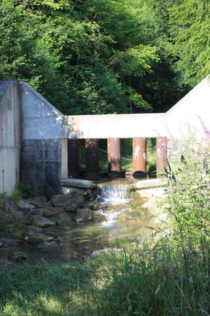a small bridge over the creek at summer