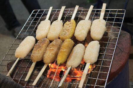 sticky hands: grilled sticky rice Stock Photo