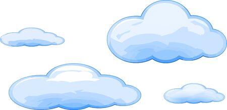 Beaucoup de taille vecteur de style de dessin animé de nuages bleus isolé.
