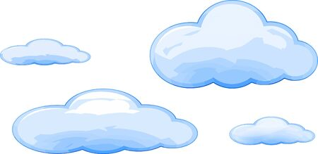 Many size Vector of blue clouds cartoon style isolated. Ilustração